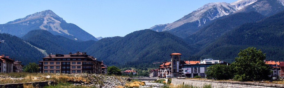 View of the Pirin Mountain and the ski center Bansko